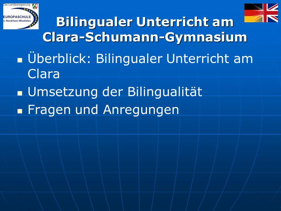 Bilingualer Unterricht am Clara-Schumann-Gymnasium