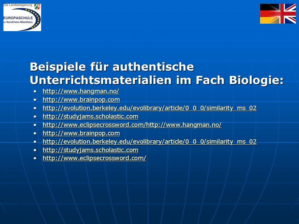 Beispiele für authentische Unterrichtsmaterialien im Fach Biologie: