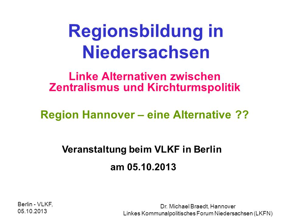 Regionsbildung in Niedersachsen