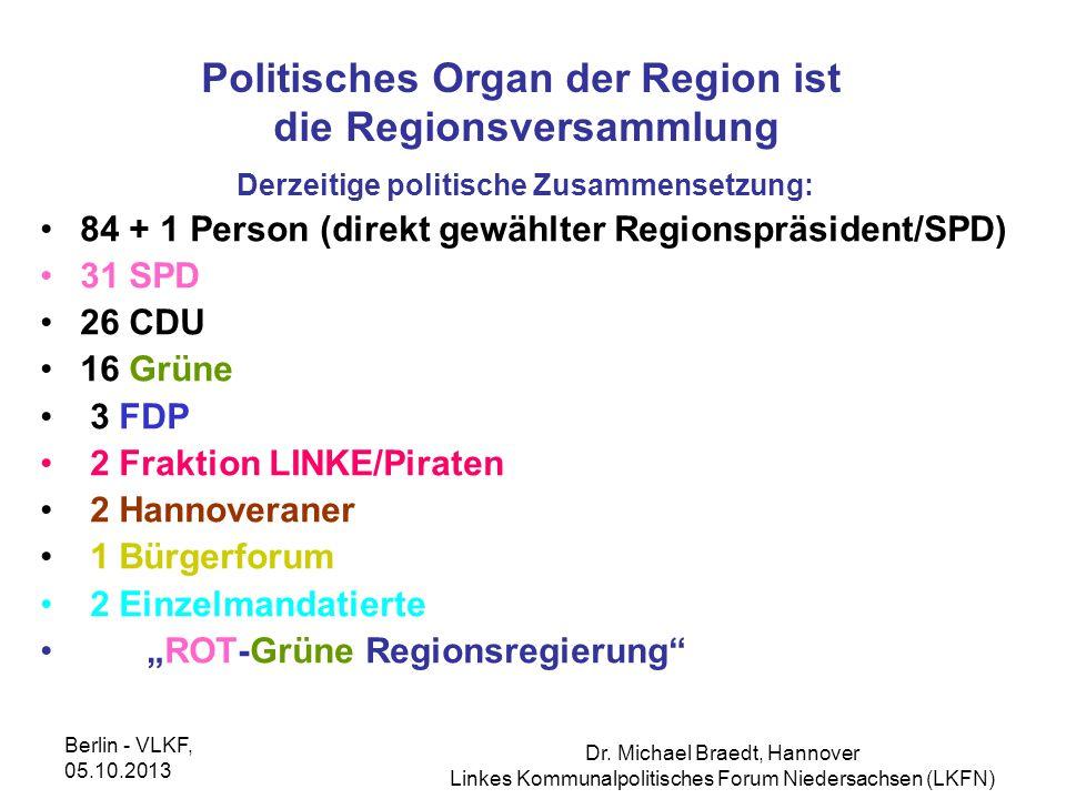 Politisches Organ der Region ist die Regionsversammlung