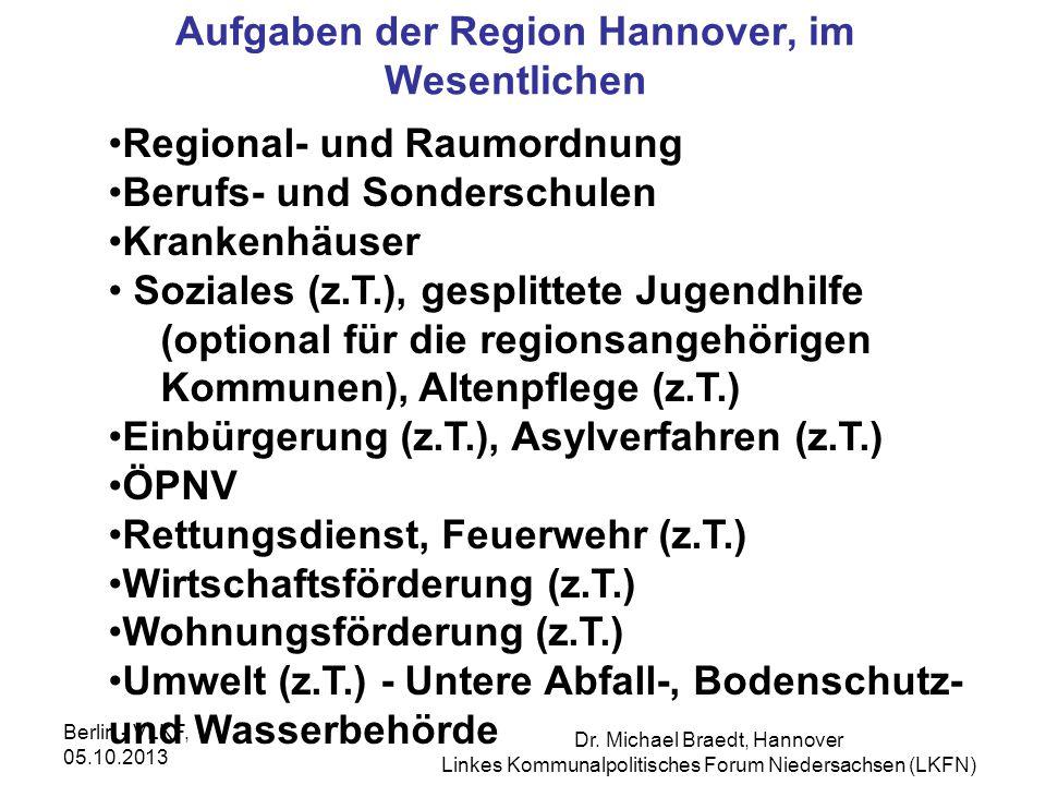 Aufgaben der Region Hannover, im Wesentlichen