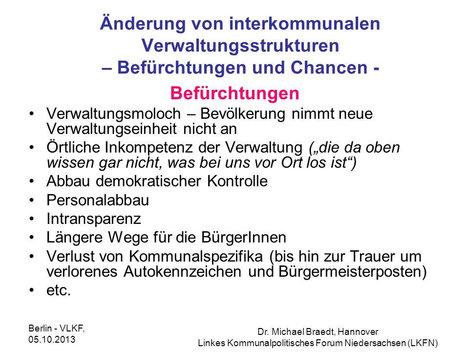 Änderung von interkommunalen Verwaltungsstrukturen – Befürchtungen und Chancen -
