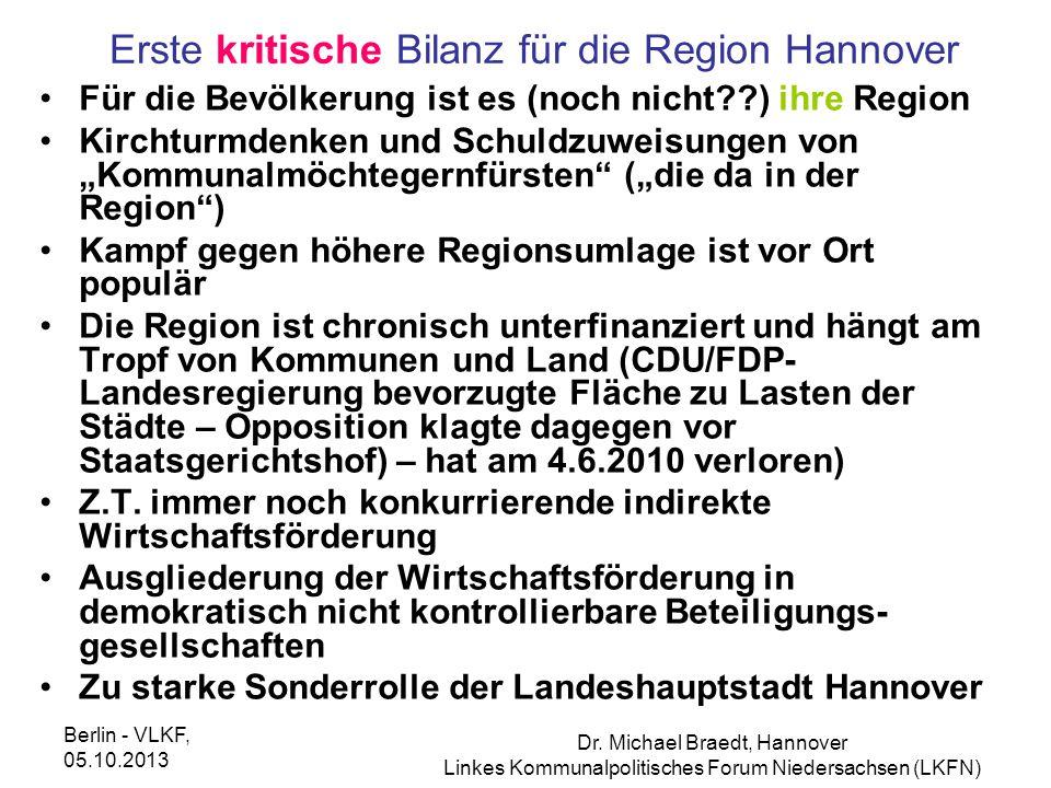 Erste kritische Bilanz für die Region Hannover