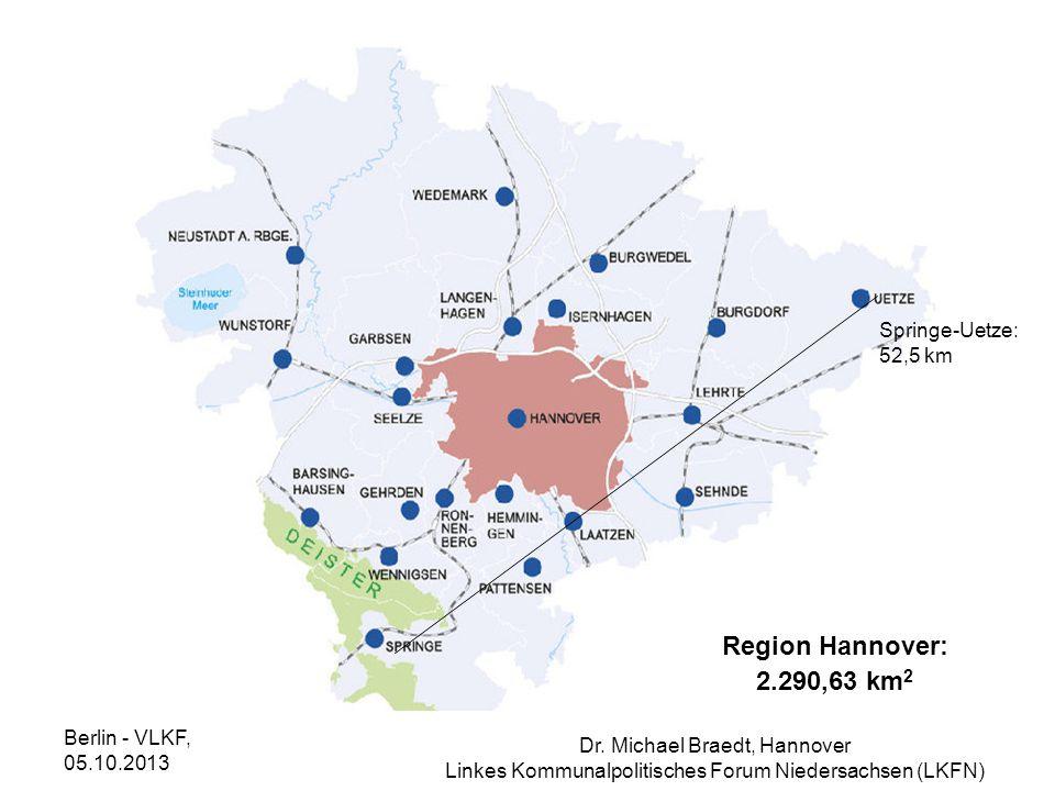 Region Hannover: 2.290,63 km2 Springe-Uetze: 52,5 km Berlin - VLKF,