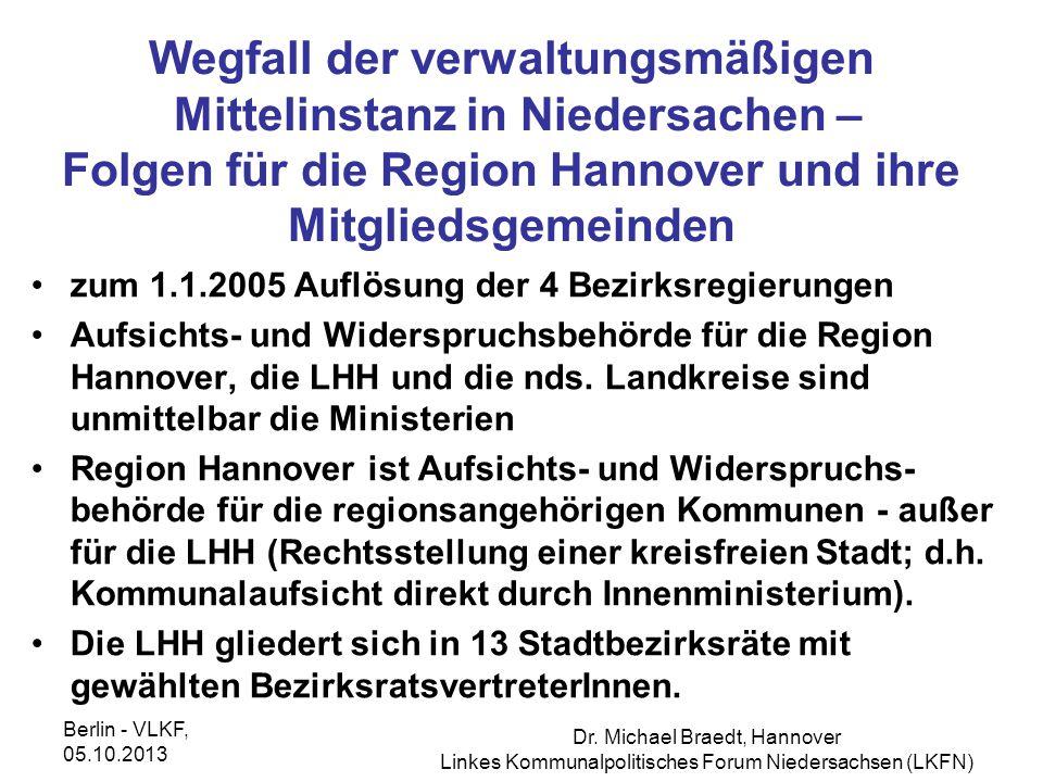 Wegfall der verwaltungsmäßigen Mittelinstanz in Niedersachen – Folgen für die Region Hannover und ihre Mitgliedsgemeinden