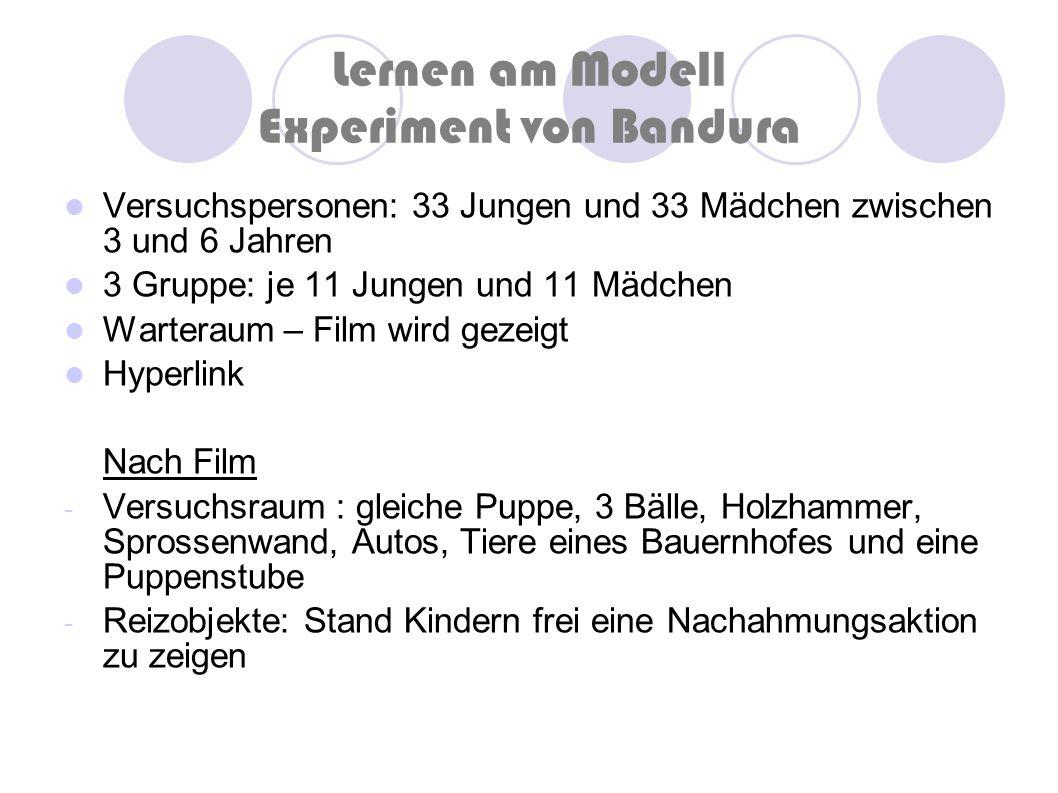 Lernen am Modell Experiment von Bandura