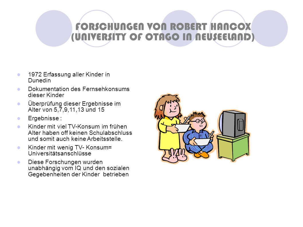 FORSCHUNGEN VON ROBERT HANCOX (UNIVERSITY OF OTAGO IN NEUSEELAND)‏