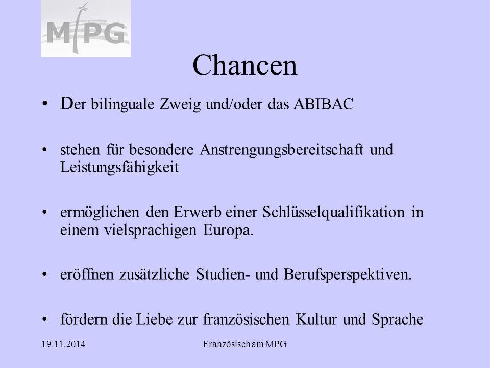 Chancen Der bilinguale Zweig und/oder das ABIBAC