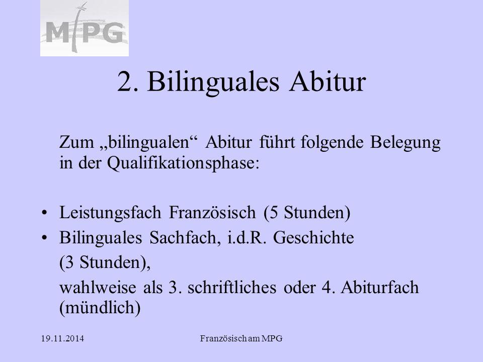"""2. Bilinguales Abitur Zum """"bilingualen Abitur führt folgende Belegung in der Qualifikationsphase:"""