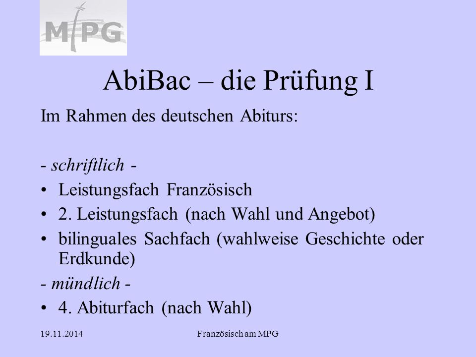 AbiBac – die Prüfung I Im Rahmen des deutschen Abiturs: