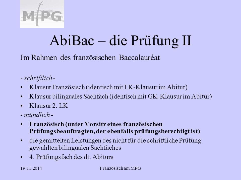 AbiBac – die Prüfung II Im Rahmen des französischen Baccalauréat