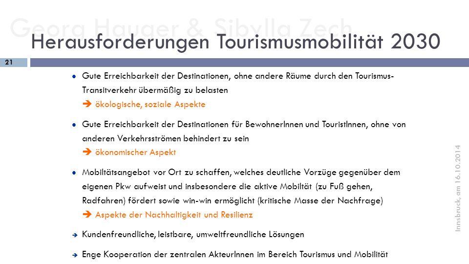 Herausforderungen Tourismusmobilität 2030