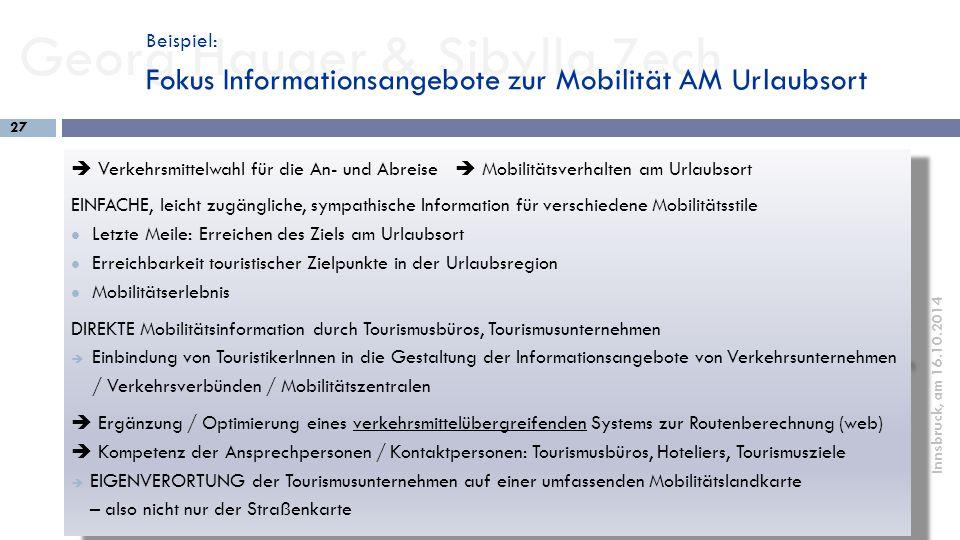 Beispiel: Fokus Informationsangebote zur Mobilität AM Urlaubsort