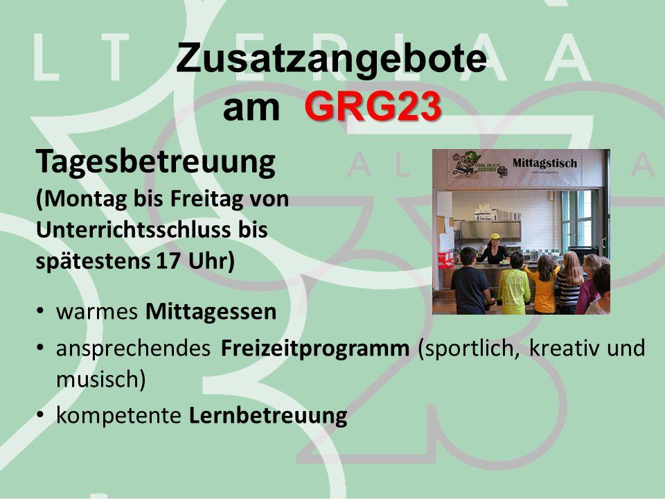 Zusatzangebote am GRG23 Tagesbetreuung