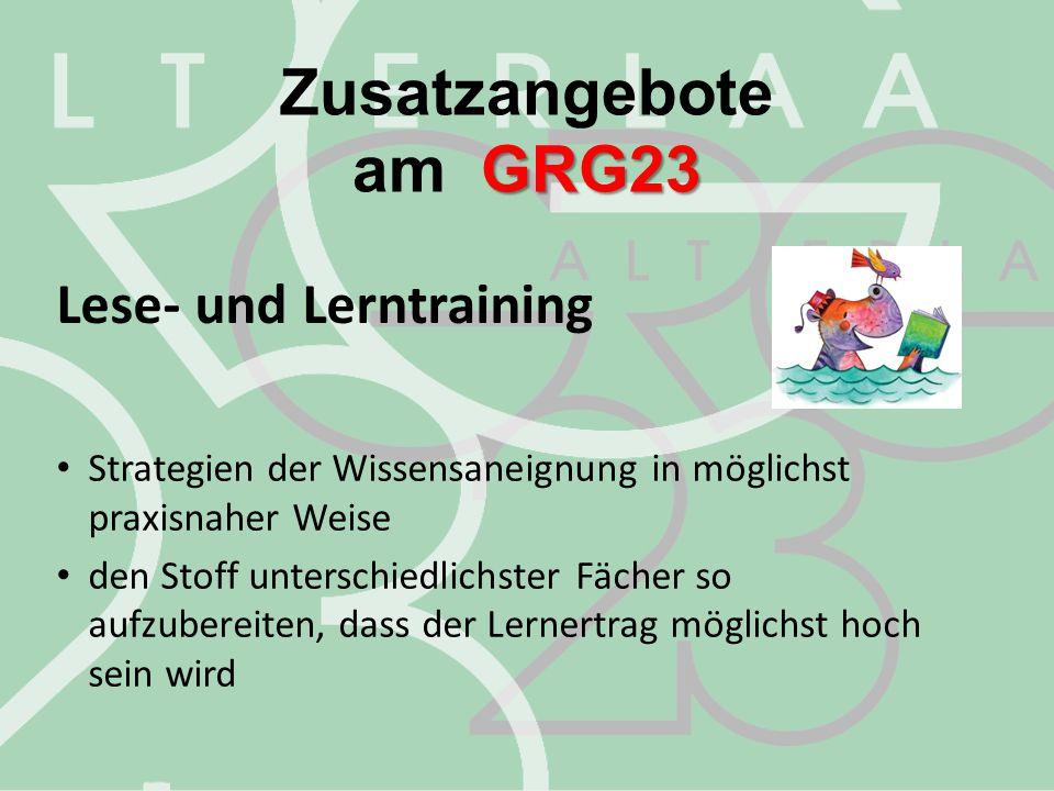 Zusatzangebote am GRG23 Lese- und Lerntraining