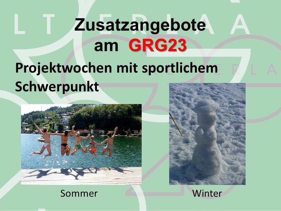 Zusatzangebote am GRG23 Projektwochen mit sportlichem Schwerpunkt
