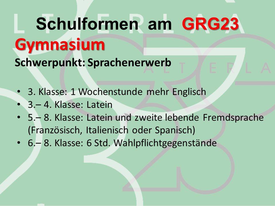 Gymnasium Schulformen am GRG23 Schwerpunkt: Sprachenerwerb