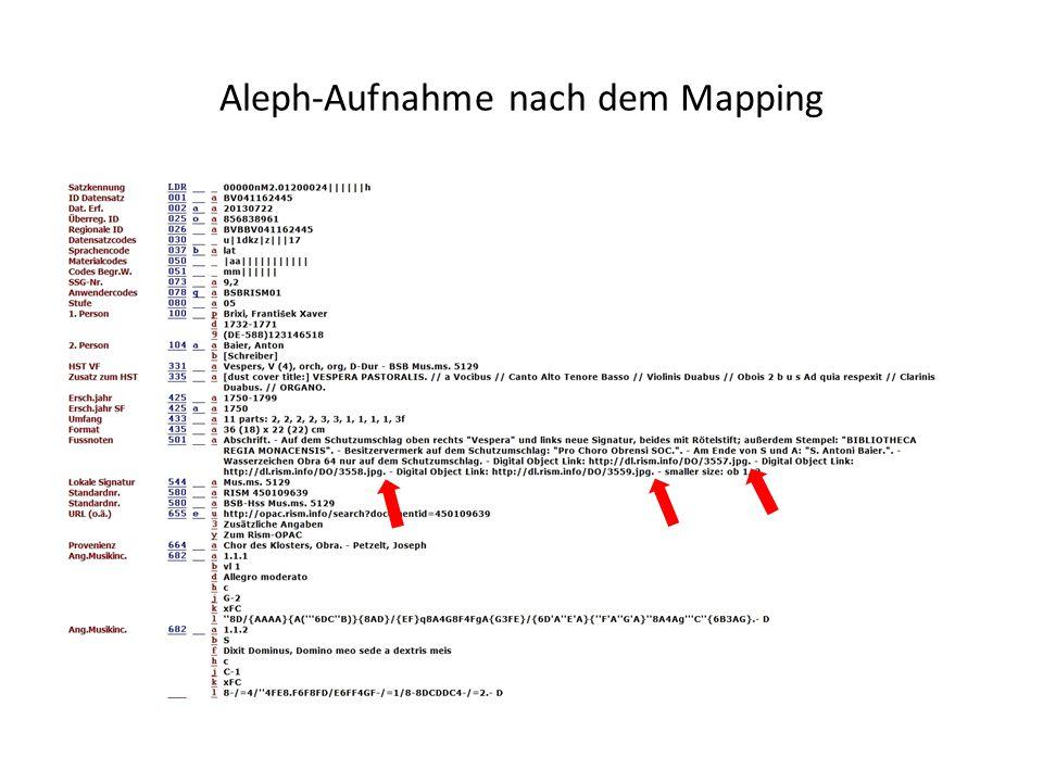 Aleph-Aufnahme nach dem Mapping