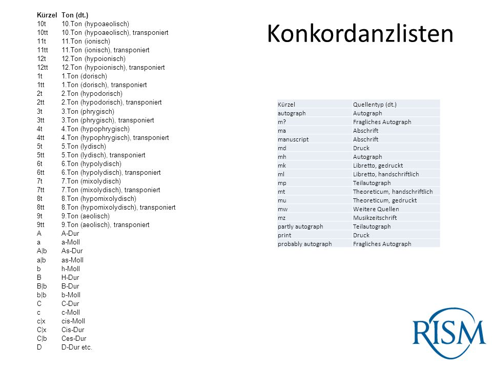 Konkordanzlisten Kürzel Ton (dt.) 10t 10.Ton (hypoaeolisch) 10tt