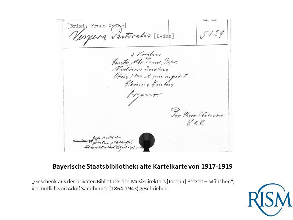 Bayerische Staatsbibliothek: alte Karteikarte von 1917-1919