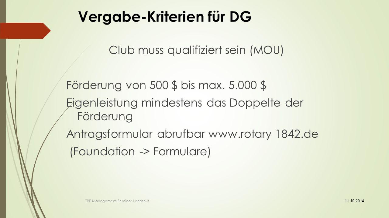 Vergabe-Kriterien für DG