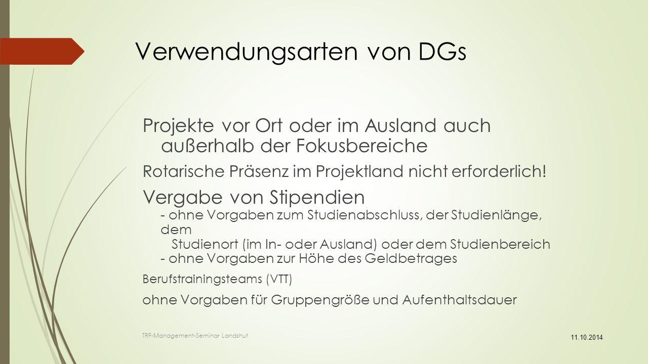 Verwendungsarten von DGs