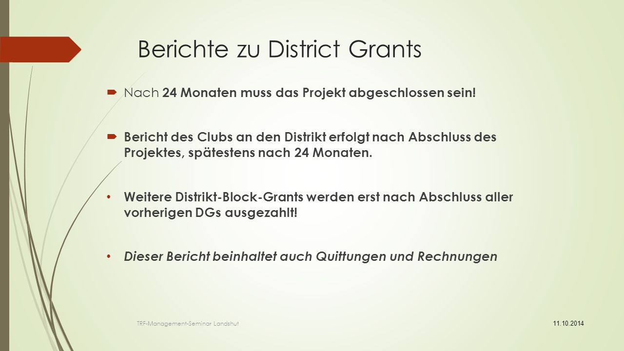 Berichte zu District Grants