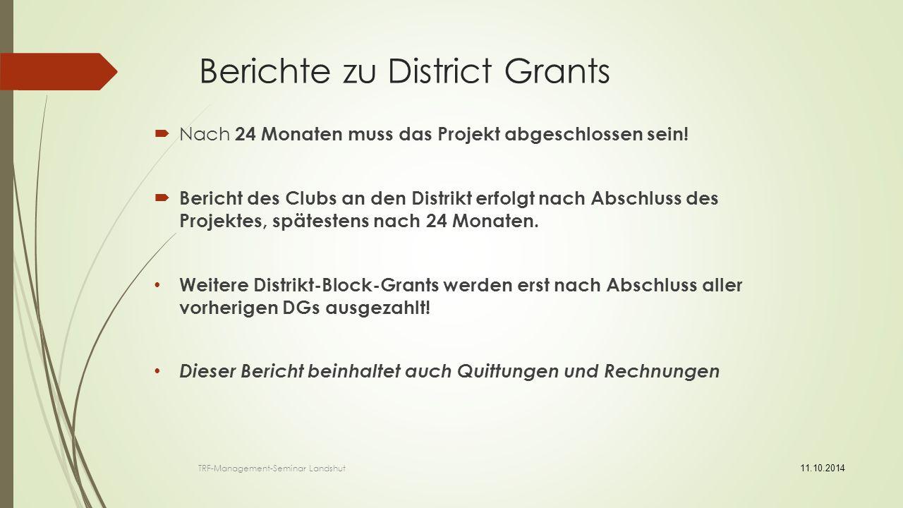 Berichte zu District Grants
