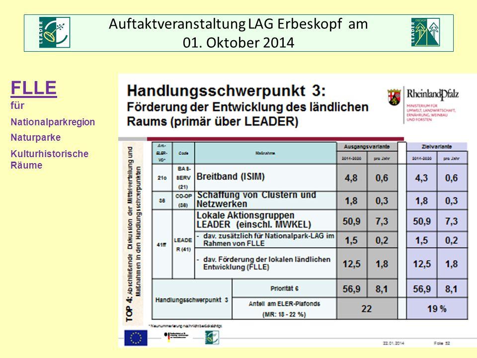 Auftaktveranstaltung LAG Erbeskopf am 01. Oktober 2014