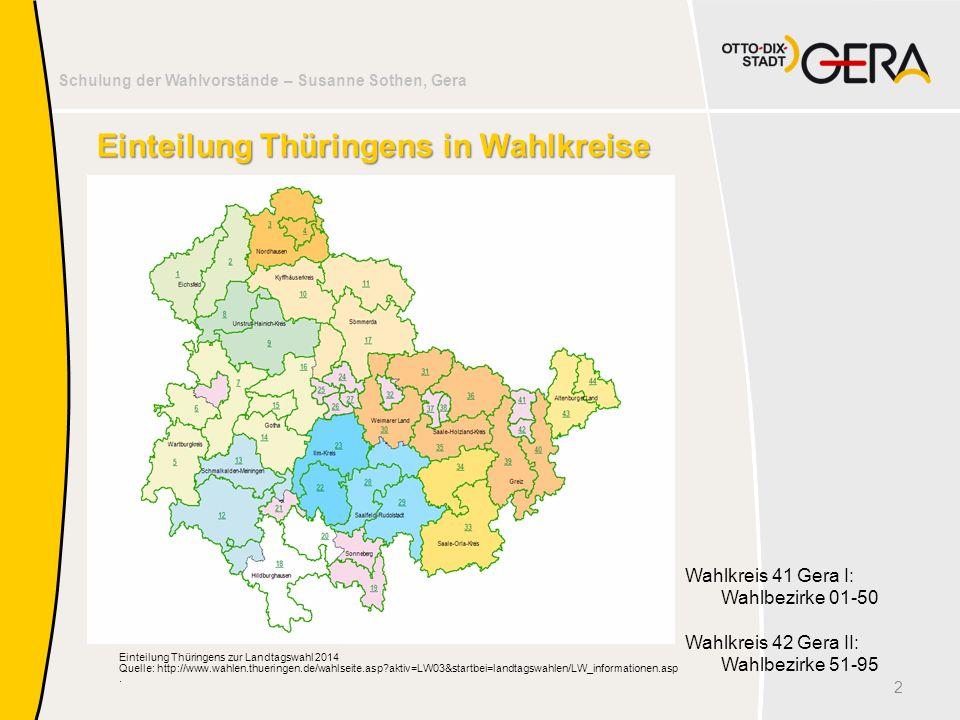 Einteilung Thüringens in Wahlkreise