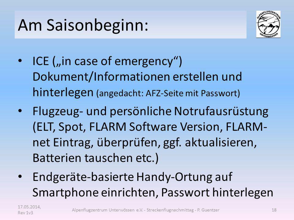 """Am Saisonbeginn: ICE (""""in case of emergency ) Dokument/Informationen erstellen und hinterlegen (angedacht: AFZ-Seite mit Passwort)"""