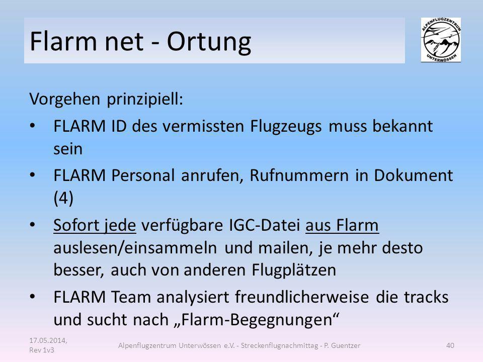 Flarm net - Ortung Vorgehen prinzipiell: