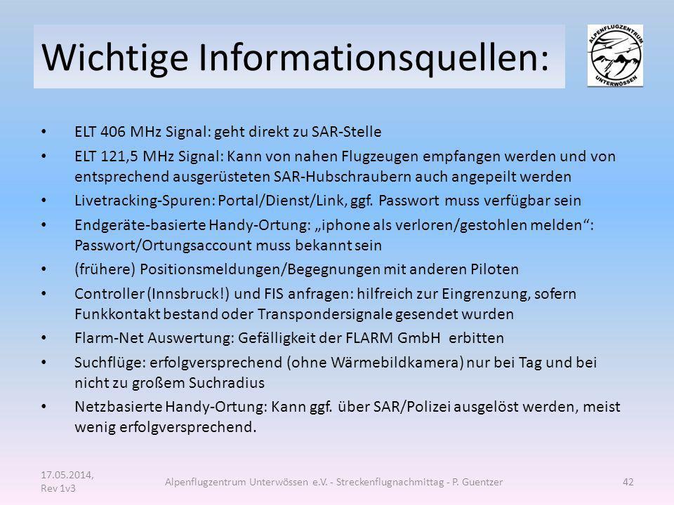 Wichtige Informationsquellen: