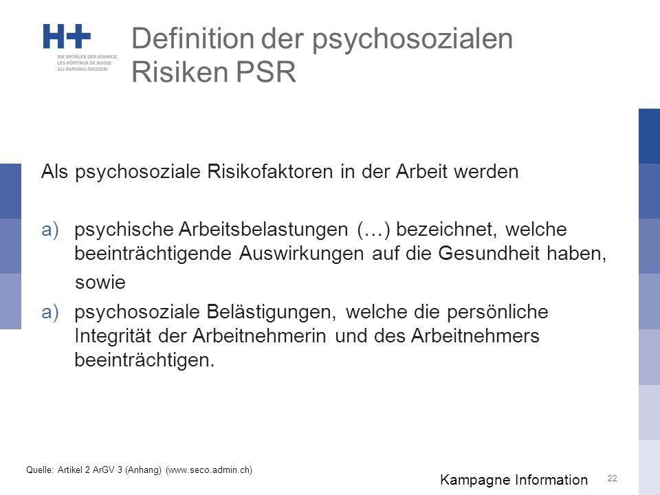 Definition der psychosozialen Risiken PSR