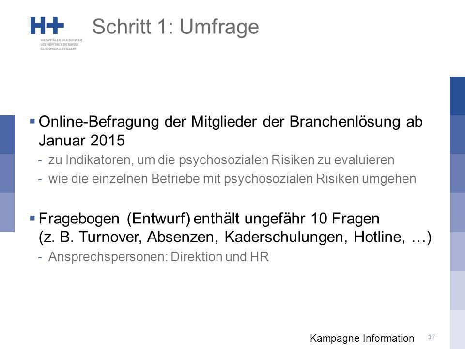 Schritt 1: Umfrage Online-Befragung der Mitglieder der Branchenlösung ab Januar 2015. zu Indikatoren, um die psychosozialen Risiken zu evaluieren.