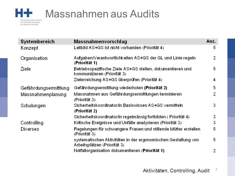 Massnahmen aus Audits Aktivitäten, Controlling, Audit
