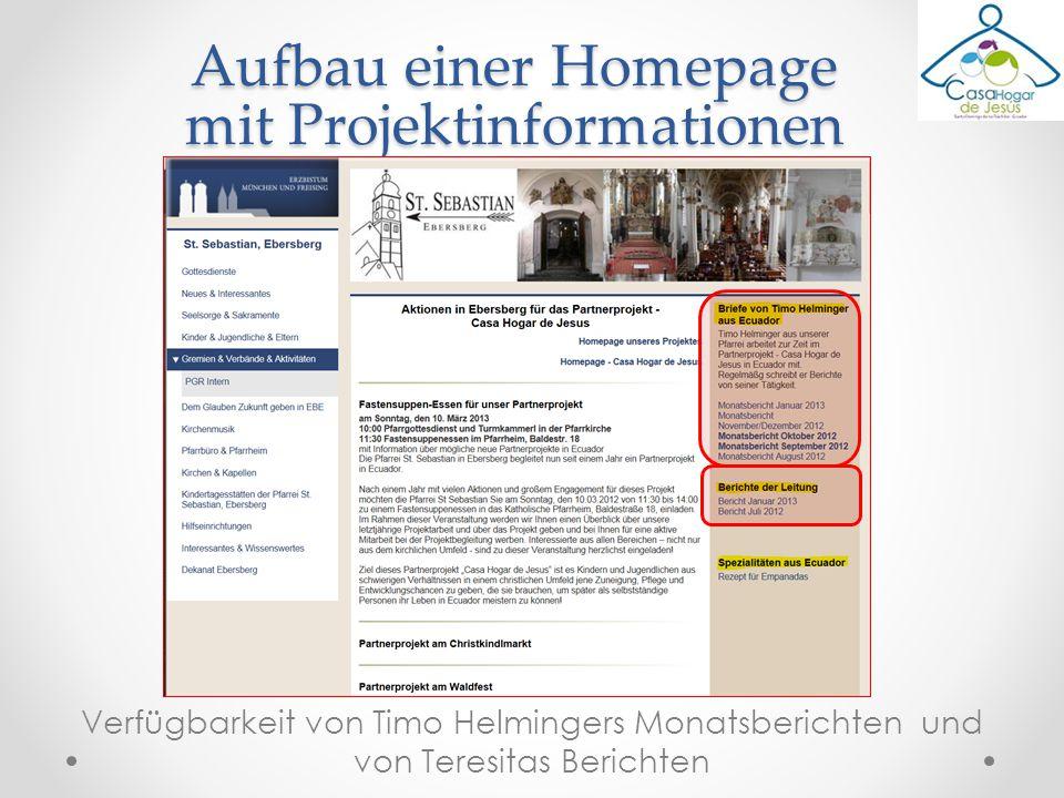 Aufbau einer Homepage mit Projektinformationen