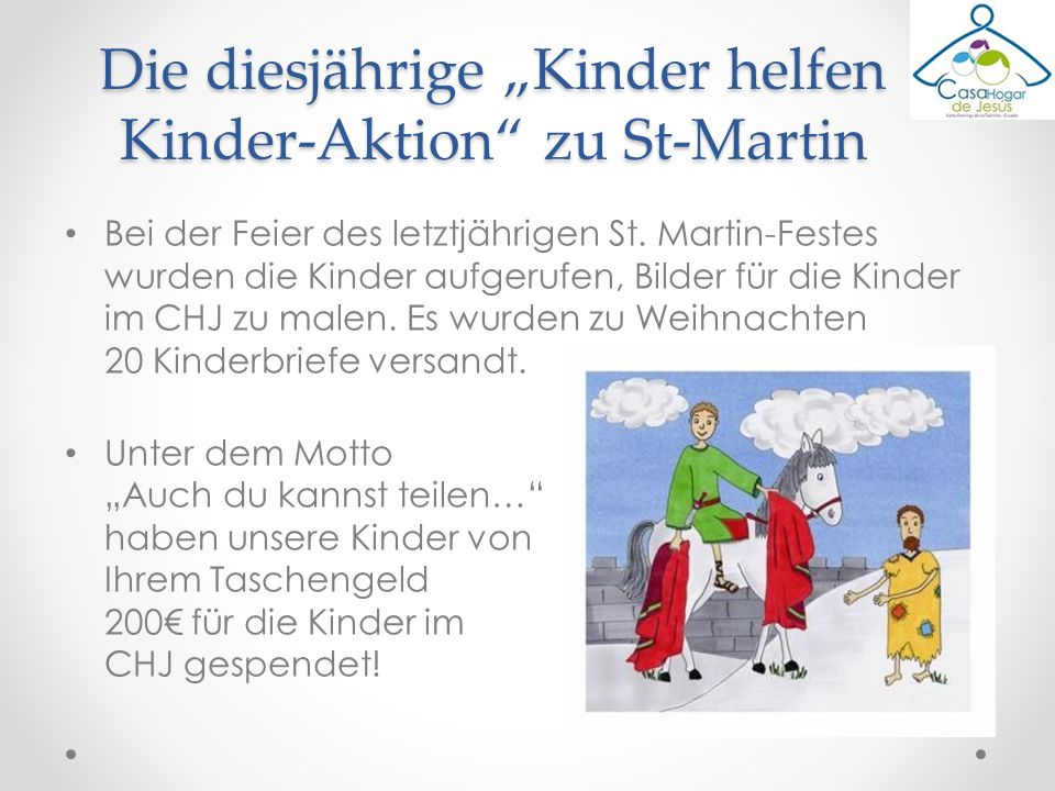 """Die diesjährige """"Kinder helfen Kinder-Aktion zu St-Martin"""