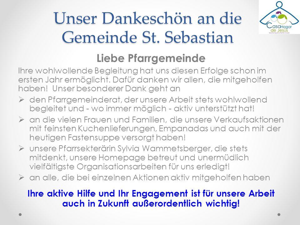 Unser Dankeschön an die Gemeinde St. Sebastian