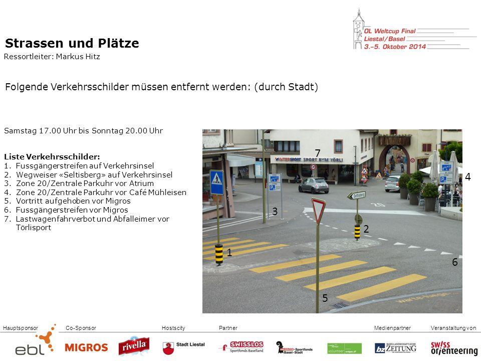 Strassen und Plätze Ressortleiter: Markus Hitz. Folgende Verkehrsschilder müssen entfernt werden: (durch Stadt)
