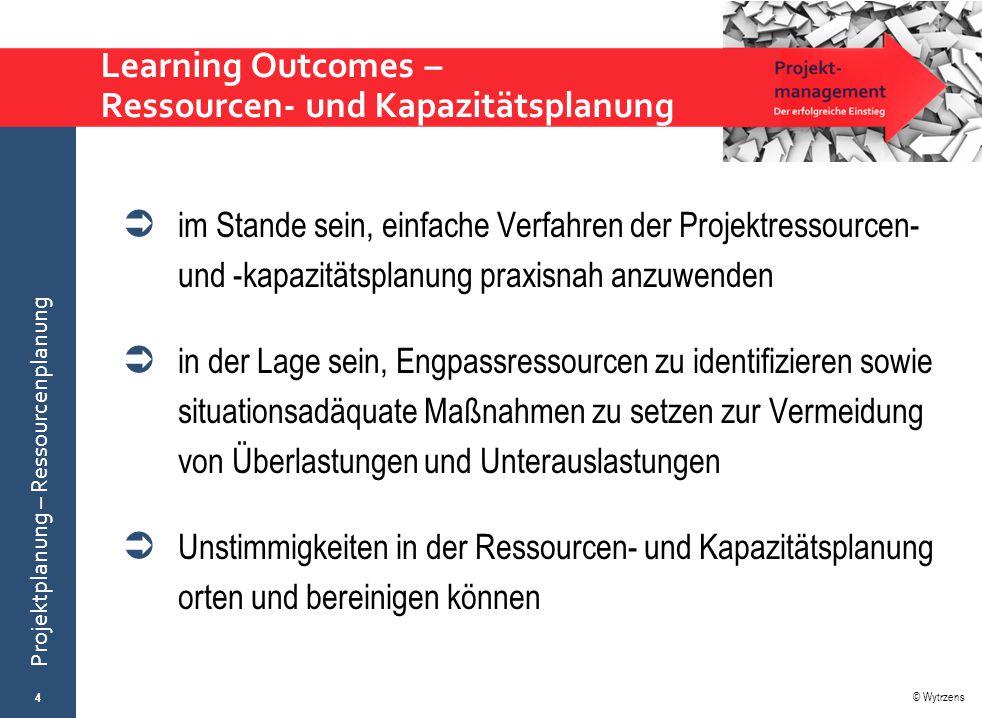 Learning Outcomes – Ressourcen- und Kapazitätsplanung