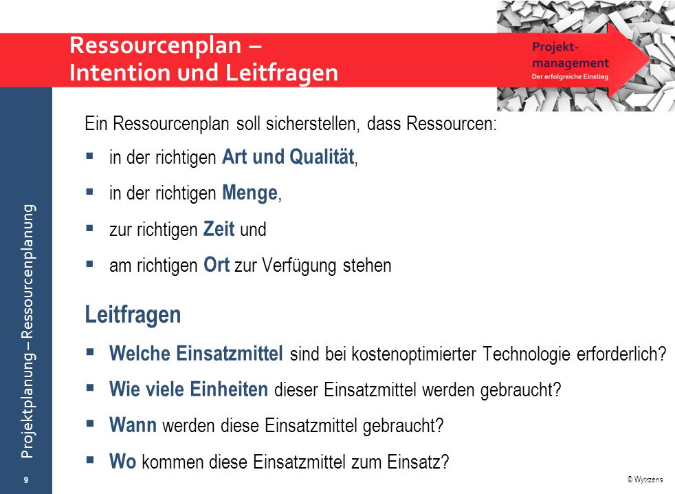 Ressourcenplan – Intention und Leitfragen