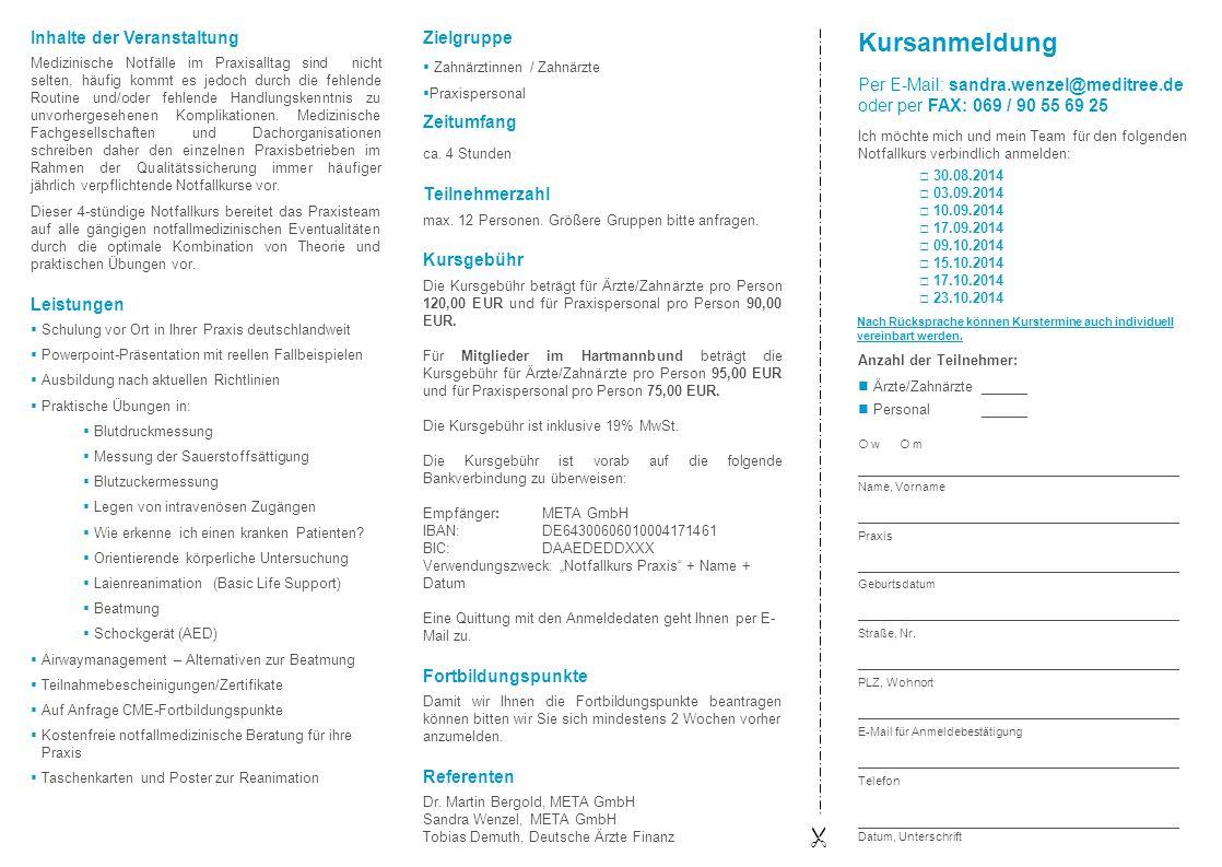 Kursanmeldung  Inhalte der Veranstaltung Leistungen Zielgruppe