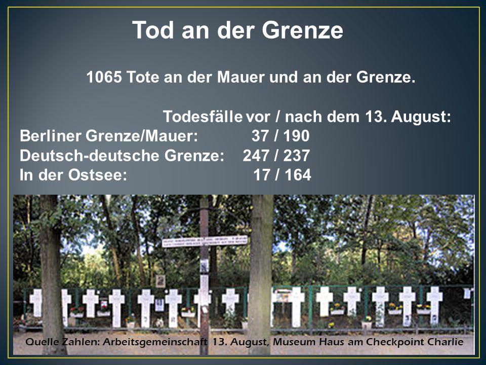 Tod an der Grenze 1065 Tote an der Mauer und an der Grenze.