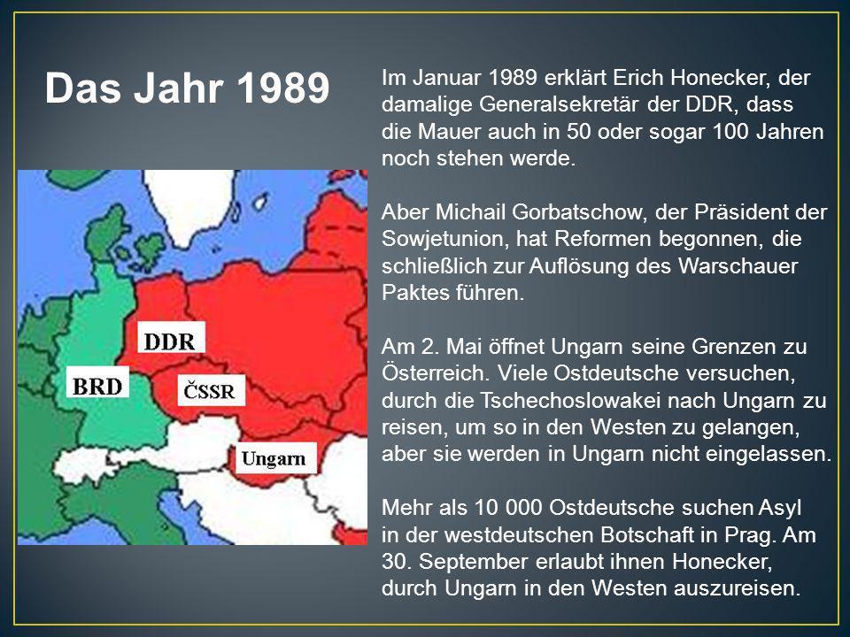Im Januar 1989 erklärt Erich Honecker, der damalige Generalsekretär der DDR, dass