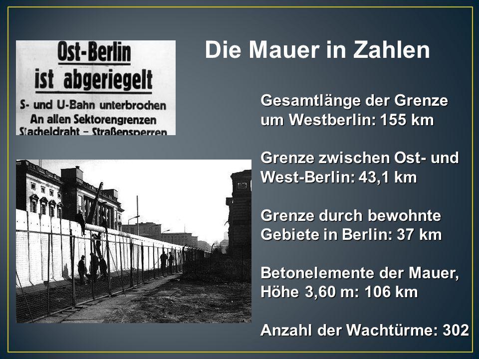 Die Mauer in Zahlen Gesamtlänge der Grenze um Westberlin: 155 km