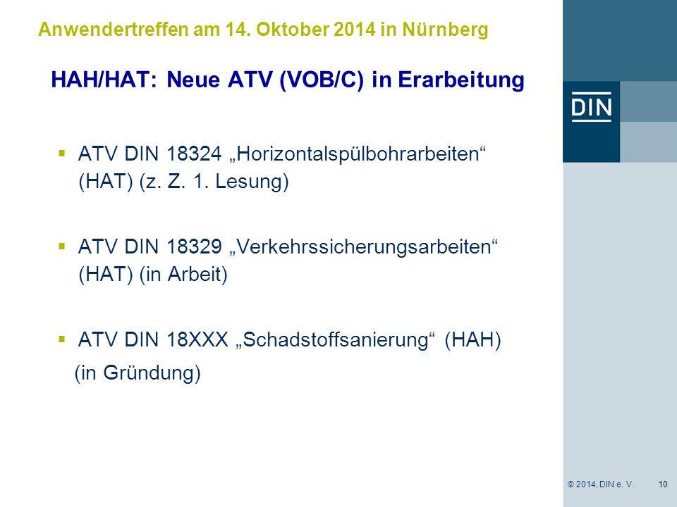 HAH/HAT: Neue ATV (VOB/C) in Erarbeitung