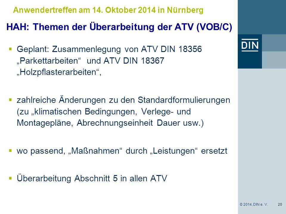 HAH: Themen der Überarbeitung der ATV (VOB/C)