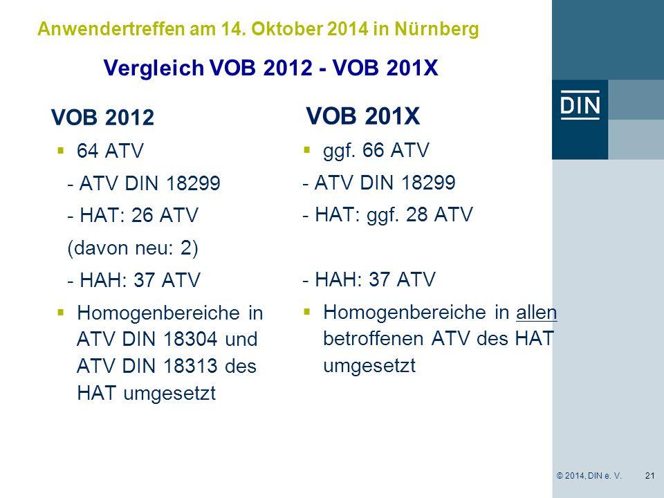 VOB 201X Vergleich VOB 2012 - VOB 201X VOB 2012 64 ATV ggf. 66 ATV