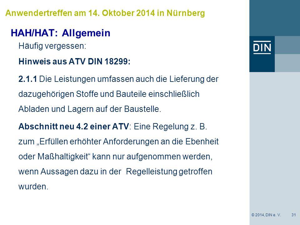 HAH/HAT: Allgemein Anwendertreffen am 14. Oktober 2014 in Nürnberg